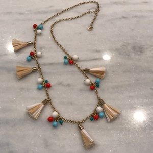 Talbots Tassel necklace, red, turquoise, white